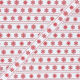 15 mm Grosgrain Ribbon - white Flocons x 1m