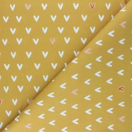 Cretonne Cotton fabric - ochre Jolis Coeurs x 10cm