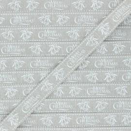 15 mm Lurex Grosgrain Ribbon - beige Merry Christmas x 1m
