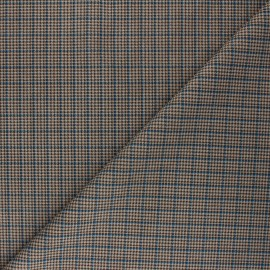 Checked Suede elastane fabric - blue Cyrus x 10cm