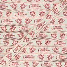 15 mm Lurex Grosgrain Ribbon - raw Merry Christmas x 1m