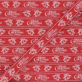 15 mm Lurex Grosgrain Ribbon - red Merry Christmas x 1m