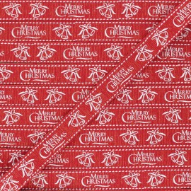 Ruban Gros Grain lurex Merry Christmas 15 mm - rouge x 1m