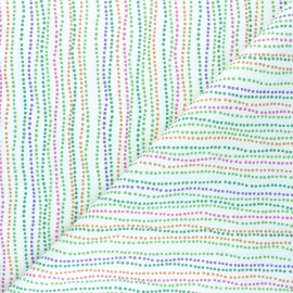 Cretonne Cotton fabric - white Multicolor Dots x 10cm
