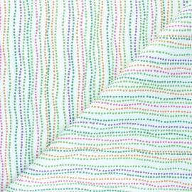 Tissu coton cretonne Multicolor Dots - blanc x 10cm