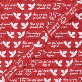 15 mm Lurex Grosgrain Ribbon - red Christmas gift x 1m
