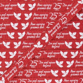 Ruban Gros Grain lurex Christmas gift 15 mm - rouge x 1m