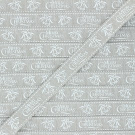 15 mm Lurex Grosgrain Ribbon - beige Christmas gift x 1m
