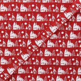 15 mm Lurex Grosgrain Ribbon - red Christmas village x 1m