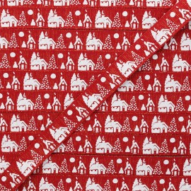 Ruban Gros Grain lurex Christmas village 15 mm - rouge x 1m