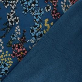 Tissu sweat envers minkee Poppy Cherry Blossom - bleu x 10cm