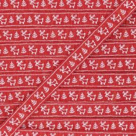 15 mm Lurex Grosgrain Ribbon - red Santa's reindeer x 1m