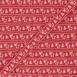 Ruban Gros Grain lurex Santa's reindeer 15 mm - rouge x 1m