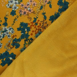 Tissu sweat envers minkee Poppy Cherry Blossom - jaune moutarde x 10cm