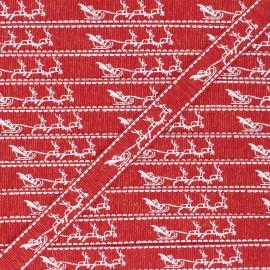 15 mm Lurex Grosgrain Ribbon - red Traîneau de Noël x 1m