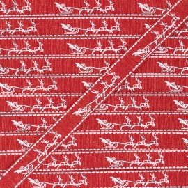 Ruban Gros Grain lurex Traîneau de Noël 15 mm - rouge x 1m