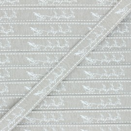 15 mm Lurex Grosgrain Ribbon - beige Traîneau de Noël x 1m