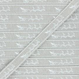 Ruban Gros Grain lurex Traîneau de Noël 15 mm - ficelle x 1m