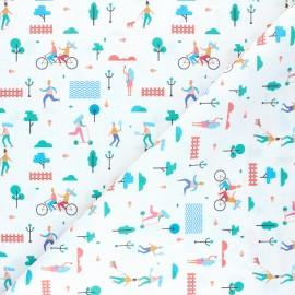 Tissu coton cretonne Journée au parc - blanc x 10cm