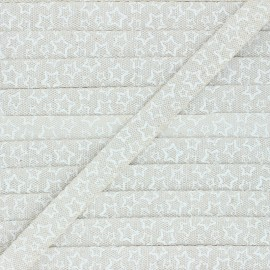 15 mm Lurex Grosgrain Ribbon - natural Christmas stars x 1m