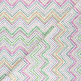 Tissu coton cretonne Zig-Zag - multicolore x 10cm