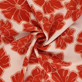 Polyester mat satin fabric Pearl Peach by Penelope® - light pink Giant Flowers x 10cm