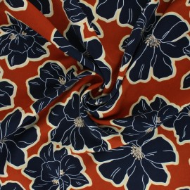 Polyester mat satin fabric Pearl Peach by Penelope® - orange Giant Flowers x 10cm