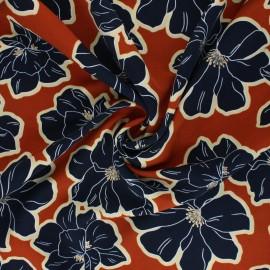 Tissu polyester satin mat Pearl Peach giant Flowers by Penelope® - orange x 10cm