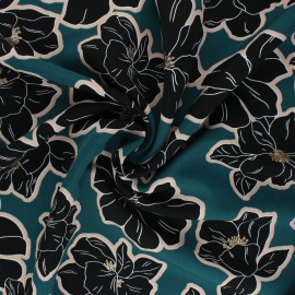 Polyester mat satin fabric Pearl Peach by Penelope® - peacock blue Giant Flowers x 10cm