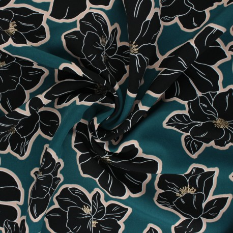 Tissu polyester satin mat Pearl Peach Giant Flowers by Penelope® - bleu paon x 10cm