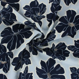 Polyester satin fabric Pearl Peach by Penelope® - sky blue Giant Flowers x 10cm