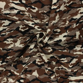 Tissu popeline de coton Ranger Camouflage - marron x 10cm