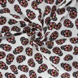 Tissu popeline de coton Colorful Skull - blanc x 10cm