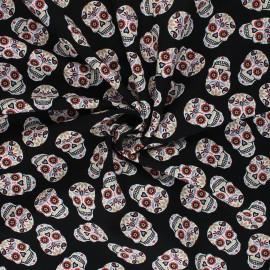 Tissu popeline de coton Colorful Skull - noir x 10cm