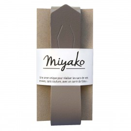 Miyako leather handle - taupe