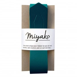 Miyako leather handle - duck green