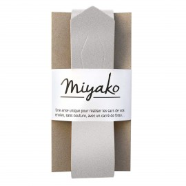 Miyako leather handle - Silver
