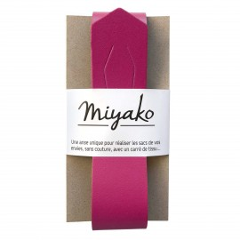 Miyako leather handle - Raspberry