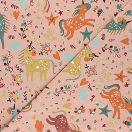 Printed Jersey fabric - pink Tendres Licornes x 10cm