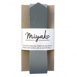 Miyako leather handle - Steel grey