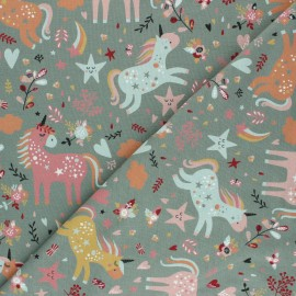 Printed Jersey fabric - sage green Tendres Licornes x 10cm