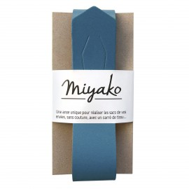 Miyako leather handle - jean blue