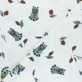Printed Jersey fabric - white Forest Raccoon x 10cm