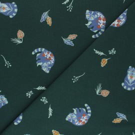 Printed Jersey fabric - pine green Forest Raccoon x 10cm