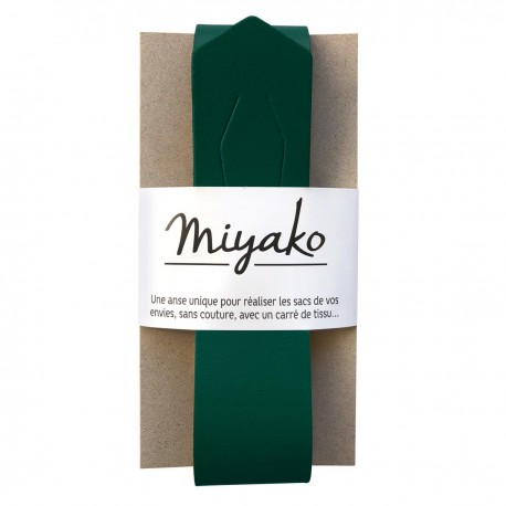 Miyako leather handle - forest green