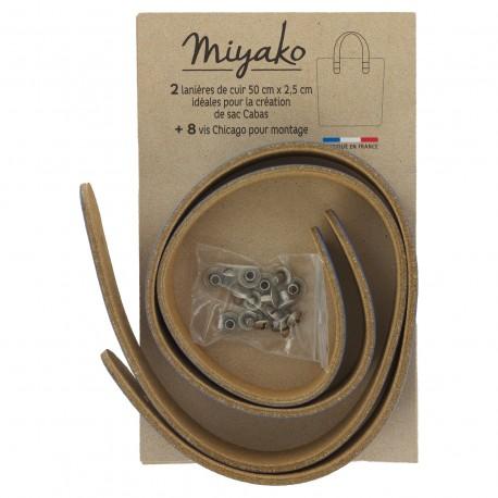 Miyako leather handle - Blue jean