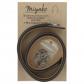 Miyako leather handle - Blue