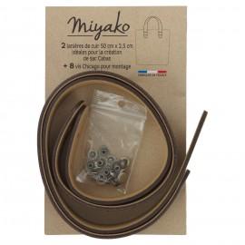 Miyako leather handle - Chestnut