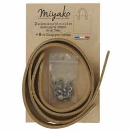 Miyako leather handle - Golden