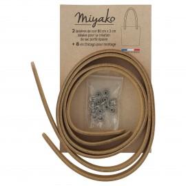 Miyako leather shoulder bag handle - Copper